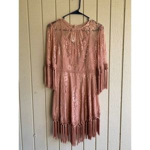 Self portrait blush pink lace mini dress size 4